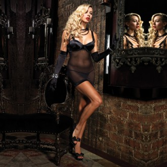 BABYDOLL WITH BOWS AND SATIN FABRIC DETAILS