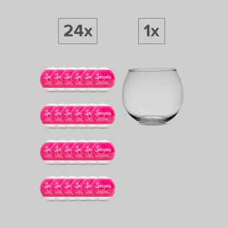 SPICYNESS SET 24 BATH BOMBS + 1 GLASS GLOBE DISPLAY OBSESSIVE