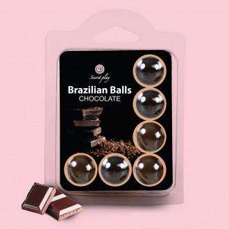 BOLAS LUBRIFICANTES BEIJÁVEIS BRAZILIAN BALLS SABOR A CHOCOLATE 6 x 4GR