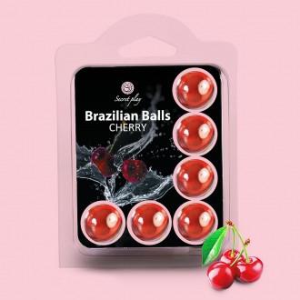 BOLAS LUBRIFICANTES BEIJÁVEIS BRAZILIAN BALLS SABOR A CEREJA 6 x 4GR
