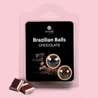 BOLAS LUBRIFICANTES BEIJÁVEIS BRAZILIAN BALLS SABOR A CHOCOLATE 2 x 4GR