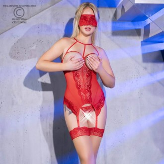 CR-4412 CORSET AND THONG RED